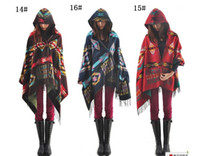 Wholesale ladies warm winter hooded wrap poncho wool blends lush cardigan