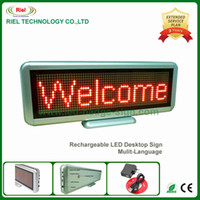 Wholesale LED Desk Board Sign Moving Badge Screen Message Programmable Display Rechargeable Mulit language x64 Dots mm Red color