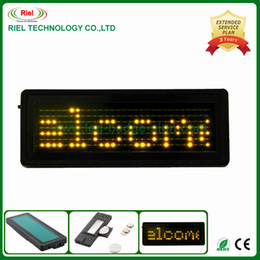 Wholesale Nightclub KTV Bar LED Name Badge Supports Text Input English EU Language Yellow x Pix