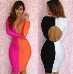 Wholesale 1404c New Hot Sexy Girls Women s Fashion Evening Dresses Bodycon Long Sleeve Party Prom Low cut V neck Dress