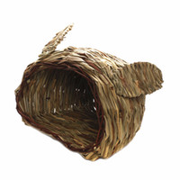 Wholesale Rabbit Ferret Totoro Guinea Pig Reed Hay Woven Grass Hideout House For Cage Bedding Toy Supplies