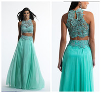 Crew embroidered chiffon lace - Stunning Two Piece Prom Dresses Embroidered Lace Top and Keyhole Back Lace Wedding Dresses Skirt with Embroidered Cheap Evening Dresses