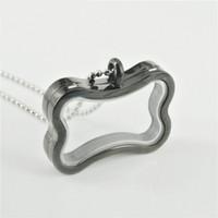 Wholesale Fashion black bone shape photo frame floating charm glass locket pendant necklace L stainless steel floating necklace SP0468