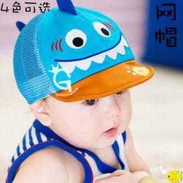 Wholesale 8pcs latest children s net cap Fashion cartoon figure sun hat Soft hat can be folded Children s net cap color
