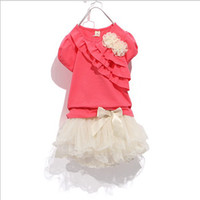 Wholesale GXR Children Suit Good Quality Oder Cotton Short Sleeve Tshirt Ball Gown Tutu Skirt Girl Sets Year Kids Clothes Set GX165