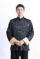 achat en gros de jaune expédition tang-Livraison gratuite 2015 chinese style top manches longues tang costume chinois traditionnel veste / jaune Deux côtés noir mandarin col de chemise M1040