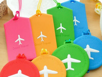 Wholesale 1404c Blasting candy color small plane silicone card sets of bags for PVC soft plastic luggage tag