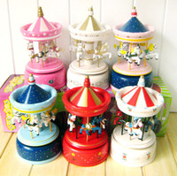 Wholesale 1404x Birthday gift carousel music box music box wooden music box Christmas edition gift
