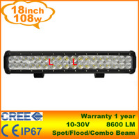 "Flood Beam 60 Degree 17 17"" Inch 108W CREE LED Light Bar Jeep Truck Trailer 4x4 4WD SUV ATV Off-Road Car 12v Work Working Lamp Pencil Spread Beam"