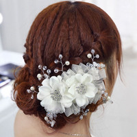 Hair Flowers Silk Flower HJ006 2014 New Exquisite Bridal Hair Jewelry Korean Style Lace Flower Pearl Crystal Leaf Charms Bridal Headpieces Wedding Accessories HJ006