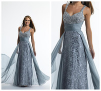 Wholesale 2014 Prom Evening Dresses Crystal Encrusted Straps and Bodice Empire Waist Gathered Chiffon Belt with Fly Away Embroidered Lace Flower Skirt