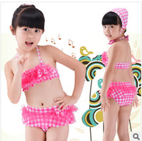 Wholesale 2014 new Split pink gauze plaid brand children s swimsuit girls swimsuit
