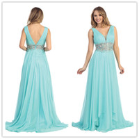Reference Images V-Neck Chiffon 2014 Modest V-Neck Beaded Aqua Pleated Chiffon Open Back Prom Dresses with Sweep Train