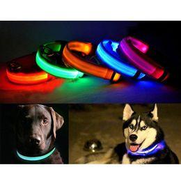 2017 m seguridad S5Q de Luz LED Parpadeante de Perro Collar de Seguridad Para la Noche de Nylon Ajustable M L XL AAADAA económico m seguridad
