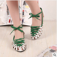 Wholesale 2014 New Summer Women Fashion Casual Flat Sandals Personality Baotou Hollow Rome Style Flat Shoes Colors Sandals