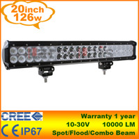 "Flood Beam 30 Degree 20 20"" 126W CREE LED Light Bar Jeep Truck Trailer 4x4 4WD SUV ATV Off-Road Car 12v Work Working Lamp Pencil Spread Beam"