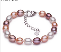Wholesale Korean Style Fashion Hand Ornaments Jewelry Genuine Products MM Natural Freshwater Water Drop Pearl Mix Color Bracelet