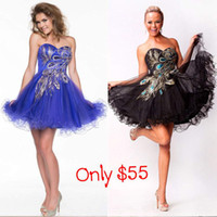Model Pictures Sweetheart Tulle Charming Black Blue Graduation Dresses Sweetheart Short Mini Prom Cocktail Party Homecoming Gowns Peacock Pattern In Stock Under $100 Cheap