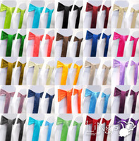 Wholesale 50 pieces Wedding Party Banquet x108inch Satin Chair Cover Sash Bow COLORS Wedding Decorations