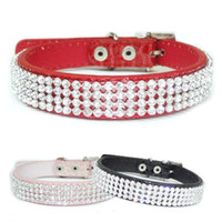 Wholesale S5Q Croc Dog Cat Rhinestone Collars Crystal Diamond Pet Puppy PU Leather Collars AAADAB