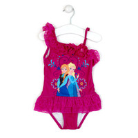 Wholesale In stock two colors New Frozen SwimSuit One Piece Swim Bodysuit Frozen Anna amp Elsa Swimsuit Purple Swimwear