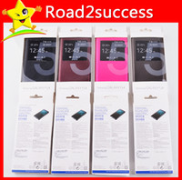 For Samsung Leather For Christmas High quality leather case Window Front View for Samsung Galaxy note 3 note3 N9000 s5 I9600 Variety colors MOQ 100pcs lot