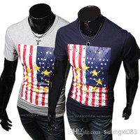 Wholesale men s Fashion American flag Printing Slim t shirt casual clothing Mens t shirt size M XXL