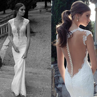 Trumpet/Mermaid Reference Images V-Neck Berta Winter 2014 Lace Sheer Wedding Dresses Deep V Neck Illusion Back Covered Button Mermaid Court Train Wedding Bridal Dresses Gowns