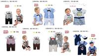 Unisex Summer 100% Cotton NEW 2014 Baby Gentleman Romper One-Piece & Romper Boys tie Romper COOL BABY bodysuit clothes -CL928H