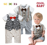 Unisex Summer 100% Cotton COOL BABY bodysuit NEW 2014 Baby Gentleman Romper One-Piece & Romper Boys tie Romper short-sleeved clothes -CL927H