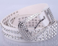 Wholesale 1404c real leather women belt Christmas lady genuine leather fashion western crystal leather rhinestone belt