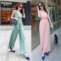 Chiffon Sleeveless Long 2014 new jumpsuit, Korean Sling was thin chiffon wide leg pants piece pants, wide leg pants suspenders vest A360