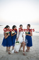 Model Pictures Draped Sleeveless 2014 Plus Size Beach Tea Length Chiffon Bridesmaid Dresses Royal Blue Cheap One Shoulder A Line Sexy Backless Elegant Party Cocktail Gowns