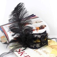 Wholesale Party Masks Masquerade Ball Masks Women s Masks Handmade Half face Black and White Plastic with Ostrich Feather Festive and Party Supplies