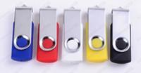 Mini regalo de la impulsión de destello del USB 2.0 del eslabón giratorio 200pcs / lot 32GB 64GB con la insignia de encargo libre para la promoción o el regalo de la exposición