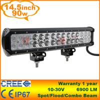 Wholesale 14 quot W CREE LED Light Bar Jeep Truck Trailer x4 WD SUV ATV OffRoad Car v Work Working Lamp Pencil Spread Beam