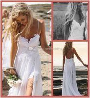Wholesale 2014 Sexy Beach Wedding Dresses Spaghetti Straps Appliques Low Back Lace Chiffon Bridal Dress Summer Bohemian Wedding Dresses