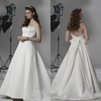 Wholesale 2014 Hot A line Wedding Dresses Gorgeous White Satin Sweetheart and Ribbon Cheap Bridal Gown
