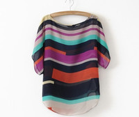 Short Sleeve Chiffon  Plus Size XXXL XXL Chiffon Striped Blouse Women Clothing Summer Blusas Short Sleeve O-neck New 2014 Tops