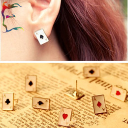Free Shipping 48Pairs Lot fashion Poker Playing card stud earring metal alloy sport casual cheap earring jewelry Wholesale