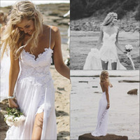 Wholesale Beach Wedding Dresses Sexy Backless White Spaghetti See Through Sweep Train High Low Lace Chiffon Bridal Gown Dress