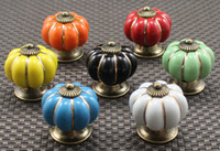 Wholesale Pumpkin Knobs Europe Ceramic Door Cabinet Cupboard Handles Pull Drawer