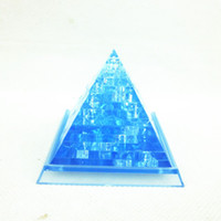Wholesale 20Pcs D Puzzle Pyramid Crystal Jigsaw Puzzle DIY Toys gold blue color Novelty Games educational Toys