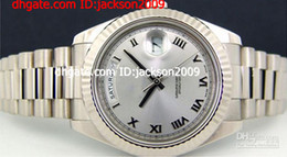 Wholesale Hot Selling Lowest Price k White Gold President II Rhodium Roman Dial Watch mm luxury Men s Mechanical Watches