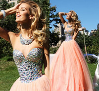 Wholesale Sexy Cute Sweetheart A Line Organza Tarik Ediz Prom Dress Sexy Crystal Beaded Prom Dresses Sexy Lace Ball Gown Cheap