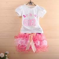 Wholesale 5sets New Summer Girls Children Birthday Dress PC Clothing Set Baby Girl White TShirt Tops amp Girls Pink TUTU Bow Cake Skirt Melee