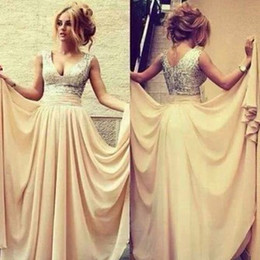 Champagne V Neck Long Prom Dresses Sequin Prom Dress Formal Evening Gown stock 2 4 6 8 10 12 14 16