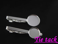 Wholesale 10pcs high quality Silver plated DIY Collar Clips Men s Tie Clip Blank Round Cap bezel setting findings