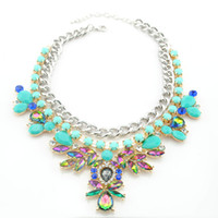 Wholesale New Occident Statement Necklaces Zinc Alloy Acrylic Resin Charming Flower Rhinestone Choker Necklace amp Pendants For Women amp Girl