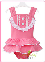 Wholesale Lovely Summer Girls One piece With Hat Swimsuit Kids Ruffles Lace Dress Swimwear Baby Girl Princess Hemline Dress Beachwear Cap H0353